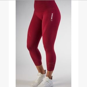 Gymshark high waisted seamless crop leggings beet